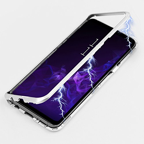 Galaxy S9 Case, Diaxbest Ultra Slim Magnetic Adsorption Metal Case, Aluminum Alloy Frame Hard Clear Tempered Glass Back Cover Support Wireless Charging for Samsung Galaxy S9 (Clear Silver)