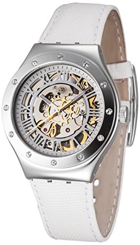 Swatch Skeleton Dial Stainless Steel Leather Quartz Ladies Watch YAS109