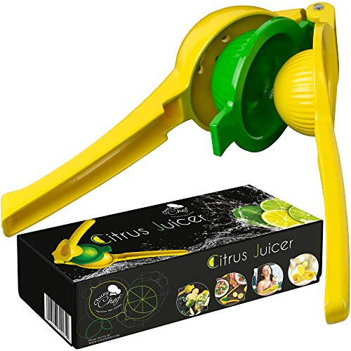 (Lemon Squeezer Hend Held Juicer - Citrus Hand Manual Press Juicers Squeeze for Lemon Lime Orange Juice Fruit Heavy Duty Easy to Clean Dishwasher Safe Aluminum Premium Quality Professional Kitchen Tool)