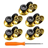 eXtremeRate 10 pcs Rubberized Chrome Gold Thumbsticks Analog Sticks Buttons Replacement Parts for Microsoft Xbox One Xbox One S Controller