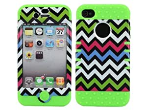 KINGCO Colourful Chevron Pattern Hybrid Hard Soft Armored Case Cover for Apple iPhone 4/4S Cases Covers (green)