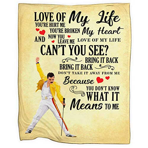 SMLBOO Queen Music Love of My Life Cozy Fleece Blanket Extra Large Size 60x80 INCH (Freddie Mercury Blanket)
