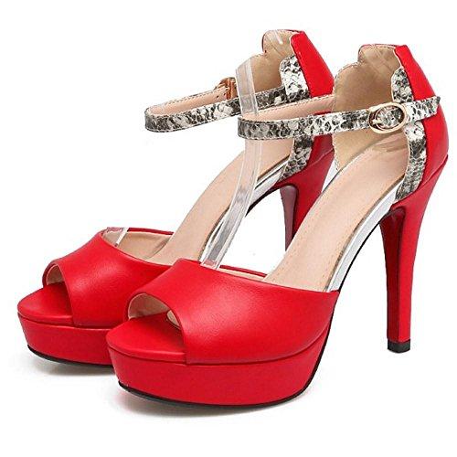 TAOFFEN Women Fashion Ankle Strap Sandals Open Toe Red fBFkNTno9
