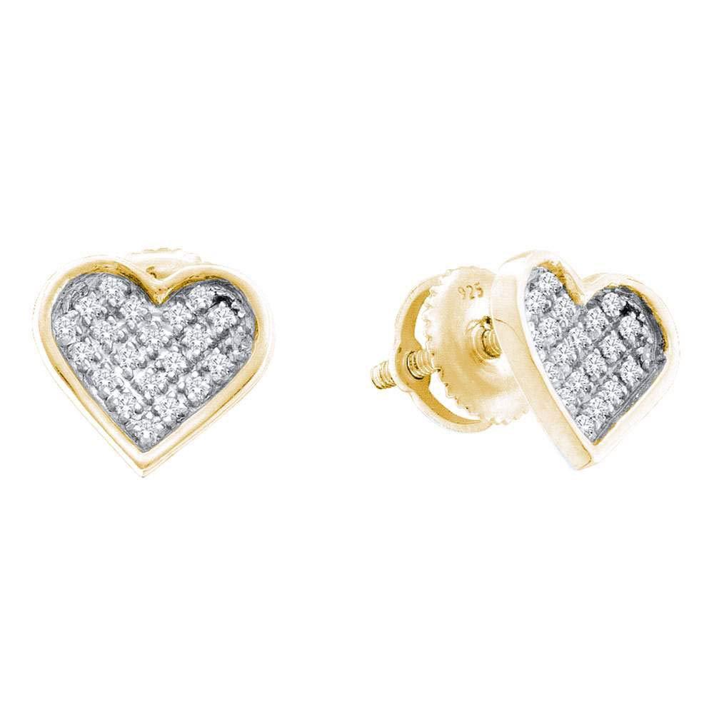 Diamond Hear Love Cluster Earrings 1//10ct 925 Sterling Silver