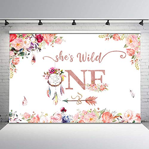 (Mehofoto She's a Wild One Birthday Backdrop Dreamcather Floral First Birthday Photography Background 7x5ft 1st Birthday Baby Girl Birthday Vinyl Background Birthday Party Decorations Supplies)