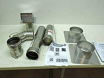 "Z-Flex 2ZVW04 4"" Horizontal Stainless Steel Z-Vent Water Heater Vent Kit"