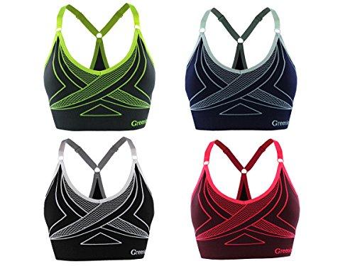 GreeNice Sujetador deportivo con correa ajustable de hombro para mujer de yoga aptitud Verde
