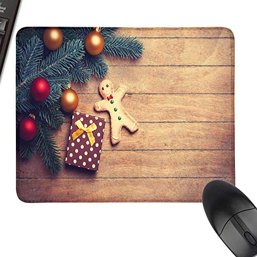 (Gingerbread Man Thicken Mouse Pad Pine Branches Delicious Cookie and Present on Wood Planks Laptop Desk Mat, Waterproof Desk Writing Pad 23.6