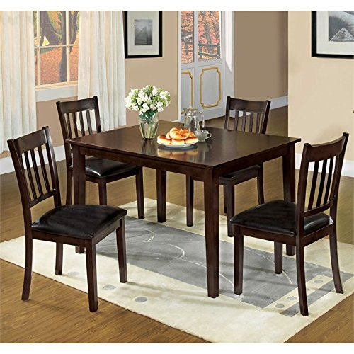 Furniture of America Lucerno 5 Piece Dining Set in Espresso