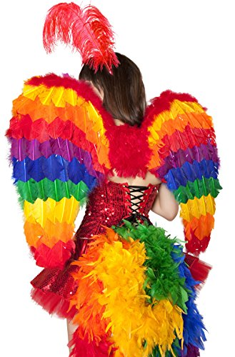 [Sexy Parrot Showgirl Feather Wings Halloween Accessory] (Parrot Costume Wings)