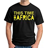 Men's Short Sleeve This Time For Africa Waka-Waka Tshirt Black Size XX-Large
