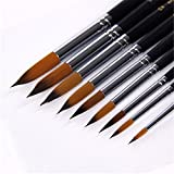 BYCE 9pcs/set Nylon Hair Tip Painting Brush for Acrylic Watercolor Oil Painting Gouache,Drawing and Coloring,School Art Supplies