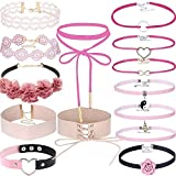 Lavany 14pcs Womens Choker Necklace,Stretch Velvet Gothic Tattoo Lace Choker Necklace Set for Girls Jewelry Making Charm
