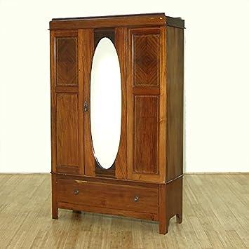 C1949 Antique English Inlaid Mahogany Armoire Wardrobe W/ Oval Mirror