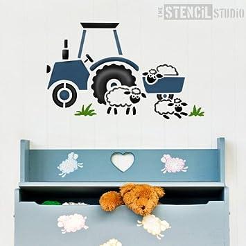 Die Stencil Studio Traktor Und Schafe Schablone Wiederaufklebbare