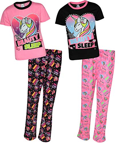 - Angel Face Girls 4-Piece Comfy Pajama Set with Short Sleeved Shirts and Long Pants, Unicorn, Size 7/8'
