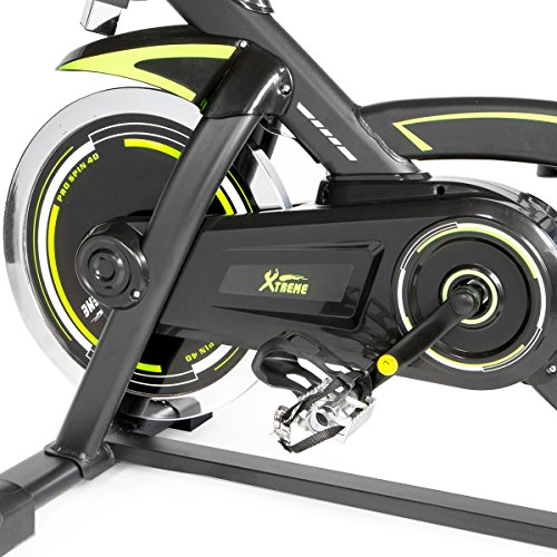 XtremepowerUS PRO 40 Exercise Bike w/ 40lbs Chrome Flywheel (Black and green, w/ Treadmill mat)