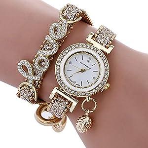 Reloj Pulsera,Hemore oda Mujer Rhinestone Amor Reloj Pulsera Piel de Serpiente Correa de Textura Reloj de Pulsera de Cuarzo con batería incorporada Oro 51zPKGZQ2ZL