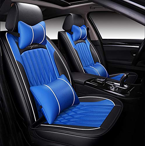 YRRC Car Seat Universal Four Seasons Full Set of Leather Ice Silk Seat Cover Advanced Leather Material,Blue
