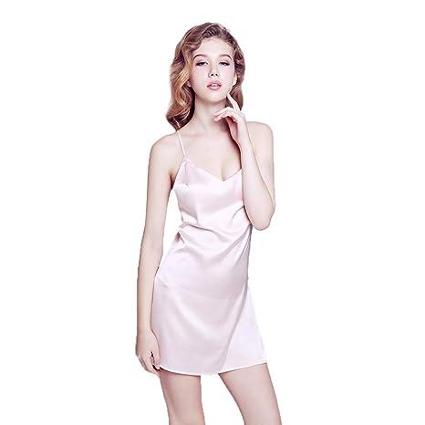 Pijama de Seda for Mujer Falda Corta Vestido Sexy con Cuello en v ...