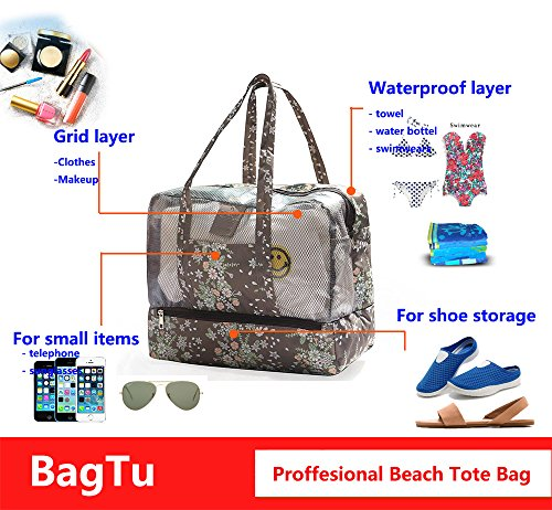 BagTu Beach Tote Bags - Waterproof with Dry Wet Area Shoes Compartment, Beach Swimming Surfing Bag, Workout Gym Bag, Brown, Capacity 14.2 by 11.4 by 7.1 inch by BagTu (Image #1)