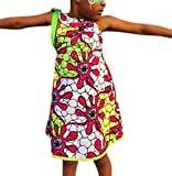 Vshop-2000 Girl's Kids Africa Print Ethnic Dashiki Stylish Sleeveless Strap A Line Dress