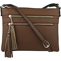 B BRENTANO Vegan Multi-Zipper Crossbody Handbag