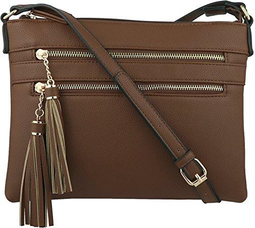 - B BRENTANO Vegan Multi-Zipper Crossbody Handbag Purse with Tassel Accents (Coffee)