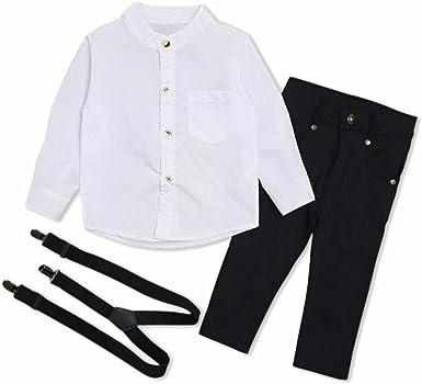 Taoytou-boys Gentleman Costume Set Camisa de Manga Larga Pantalones de Tirantes Traje (0-6M): Amazon.es: Ropa y accesorios