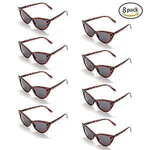 Onnea 8 Pack Vintage Retro Party Favors Cat Eye Sunglasses, 100% UV Protection