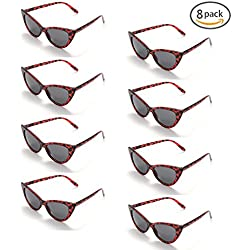 Onnea fashion 8 Pack 80s Vintage Retro Party Favors Cat Eye Wholesale Sunglasses