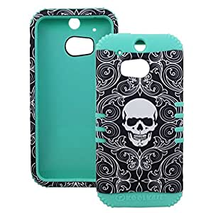 For HTC One M8 Rubberized Skull Protector Cover (Teal Blue)