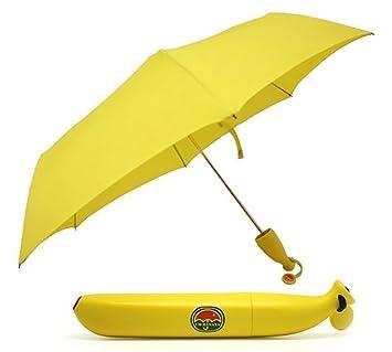ZENDY excelente paraguas plegable forma de plátano portátil para niños (Amarillo)