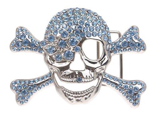 Rhinestone Crossbones Skull Pirate - Rhinestone Skull & Crossbones Pirate Belt Buckle Color: Light Sapphire