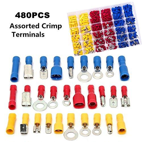 Wire Crimp Quick Disconnects Wire Terminals Set 48Pcs, 4 Size Conwork Male // Female Spade Connector Nylon Semi Insulated
