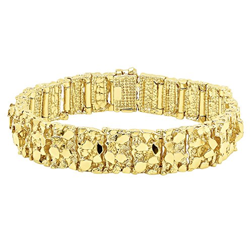 Thick 15mm 14k Gold Plated Large Chunky Nugget Textured Link Bracelet, 7