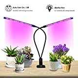Plant Light Grow Light Timing Function Dual Head 18W LED Lights 3 Modes Timer 4H/8H/12H Dimmable 8 Levels Adjustable with 360 Degree Flexible Gooseneck Plant Growing Lamp, Promote Plant Growth by AY