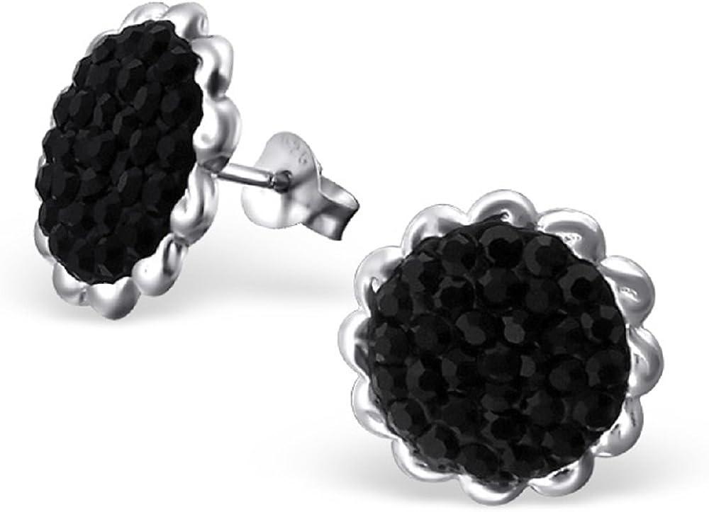 ICYROSE 925 Sterling Silver Round Jet Black Crystal Stud Earrings 16421