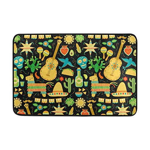 nuohaoshangmao Mexican Pattern Door Mat Carpets Indoor Outdoor Area Rugs Office Door Mat Non-Slip Bedroom Bathroom Living Room Kitchen Home Decorative 23.6x15.7 inch Lightweight by nuohaoshangmao