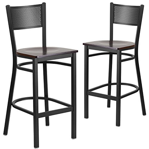 Flash Furniture 2 Pk. HERCULES Series Black Grid Back Metal Restaurant Barstool - Walnut Wood Seat (Wood Grid)