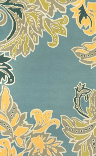 Liora Manne Ravella Ornamental Leaf Border Rug, Indoor/Outdoor, 7-Feet 6-Inch by 9-Feet 6-Inch, - Leaf Rug Border