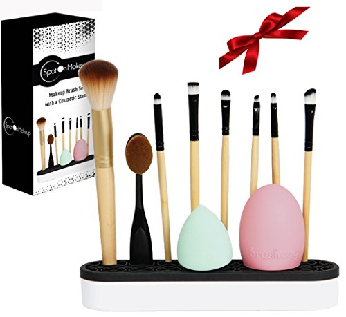 11 PCS Makeup Brush Set with a Silicone Stand Organizer. different sized brushes Great Gift for a Women!. -