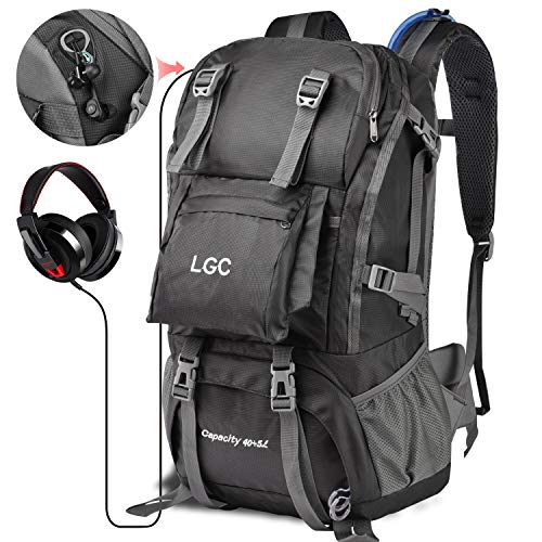 LGC Products Travel Backpack,40L Waterproof Hiking Backpack for Men & Women,Camping Backpack with Headphone Interface & Rain Cover for Hiking,Traveling & Camping by LGC Products