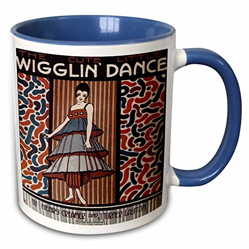 (3dRose BLN Vintage Song Sheet Covers Reproductions - The Cute Little Wiggle Dance Woman in 20s Style Dress Dancing - 15oz Two-Tone Blue Mug (mug_171114_11))