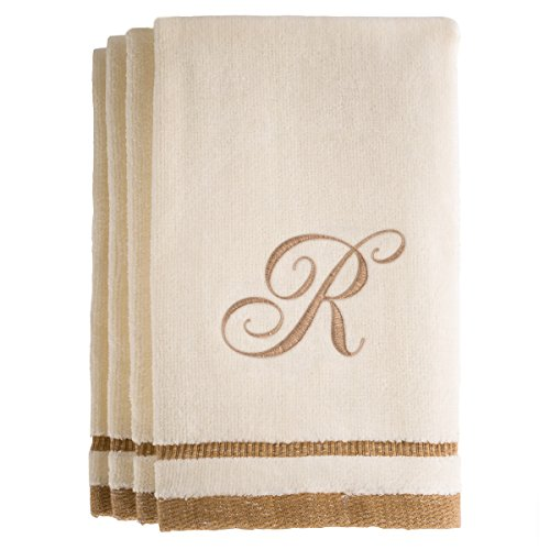 Monogrammed Gifts, Fingertip Towels, 11 x 18 Inches - Set of 4- Decorative Golden Brown Embroidered Towel - Extra Absorbent 100% Cotton- Personalized Gift- For Bathroom/ Kitchen- Initial R (Ivory) (Zebra Print Laundry Basket)