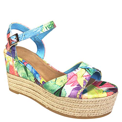 BAMBOO Women's Knotted Band Espadrille Wedge Sandal with Quarter Strap, Blue Floral Print Fabric, 7.5 B (M) US ()