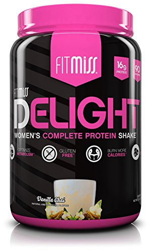 FitMiss Delight Protein Powder, Healthy Nutritional Shake for Women, Whey Protein, Fruits, Vegetables and Digestive Enzymes, Support Weight Loss and Lean Muscle Mass, Vanilla Chai, 2-Pound (High Protein Low Carb Shakes For Weight Loss)