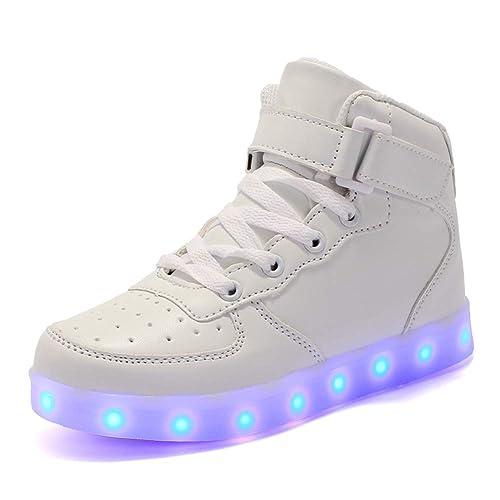 Axcer Mixte Enfants LED Chaussures de Sport 7 Changement de Couleur USB  Rechargeable LED Lumineuse Clignotant ca58b14a989