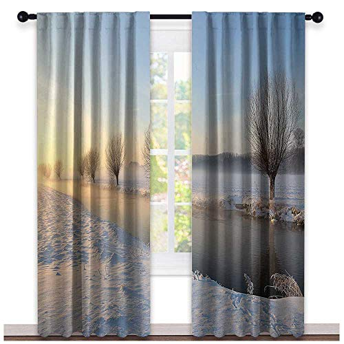 hengshu Winter, Kitchen Curtains Valances, Snowy River Landscape Barren and Frosted Trees Dutch Netherlands Europe Photograph, Curtains for Sliding Glass Door, W84 x L108 Inch