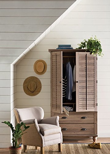 Armoire Garment Hanging Rod and Storage Cubbyholes Behind Louver Detailed Doors Which Fold Back Against End Panels Paper Board Back Material by AVA Furniture
